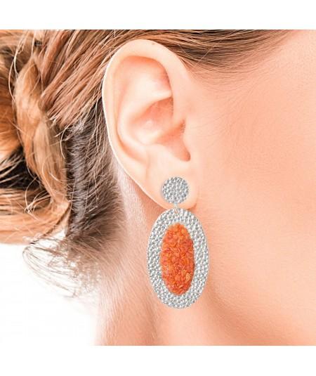 Pendientes de plata ovalados Isis con nácar color coral