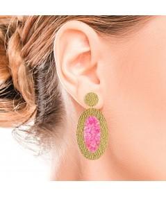 Pendientes ovalados oro Atenea con nácar rosa