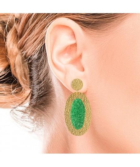 Pendientes oro ovalados Demeter con nácar verde