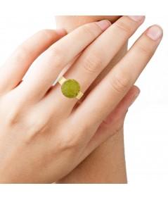 Anillo oro Olivine con piedra verde olivina