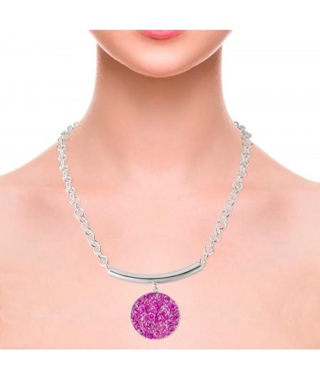 Collar plata Flora con colgante de nácar fucsia
