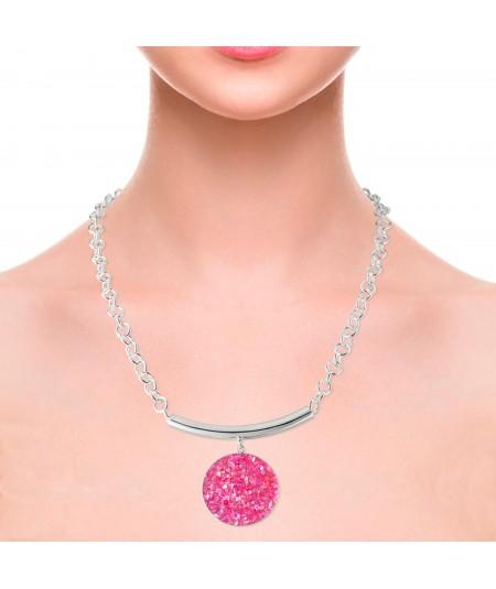 Collar con colgante Atenea de plata y nácar rosa
