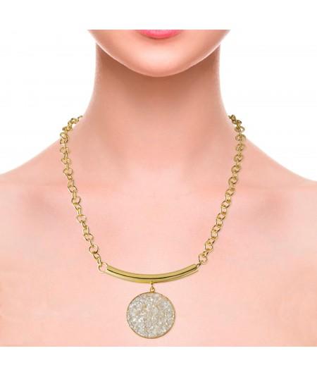 Collar oro Afrodita con colgante de nácar blanco