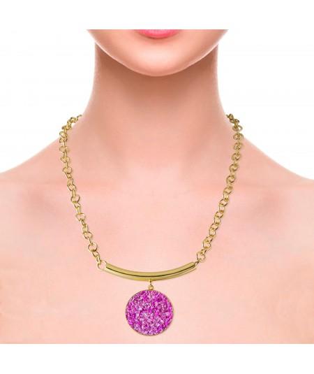 Collar oro Flora con nácar fuscia