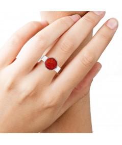 Anillo en plata Love con nácar rojo