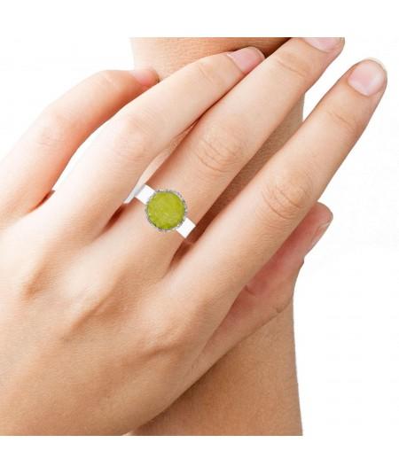 Anillo de plata Olivine con piedra verde olivina